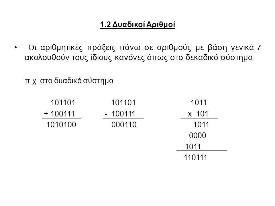 1.3 Μετατροπή Βάσης Αριθμού Ένας αριθμός εκφρασμένος σε βάση r μπορεί να μετατραπεί σε δεκαδικό, πολλαπλασιάζοντας κάθε συντελεστή με την αντίστοιχη δύναμη του r και κάνοντας πρόσθεση π.χ.: (1010.011) 2 = 2 3 + 2 1 + 2 -2 + 2 -3 = (10.375) 10 (630.4) 8 = 6  8 2 + 3  8 + 4  8 -1 = (408.5) 10 Η μετατροπή από το δεκαδικό σε άλλο αριθμητικό σύστημα βάσης r είναι πιο εύκολη εάν ο αριθμός χωριστεί στο ακέραιο και το κλασματικό μέρος του και αυτά μετατραπούν χωριστά.