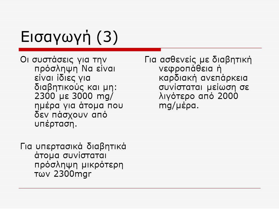 Εισαγωγή (3) Οι συστάσεις για την πρόσληψη Να είναι είναι ίδιες για διαβητικούς και μη: 2300 με 3000 mg/ ημέρα για άτομα που δεν πάσχουν από υπέρταση.