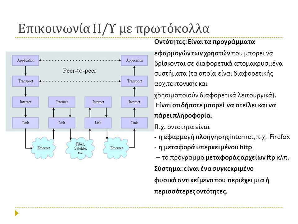 Επικοινωνία Η / Υ με πρωτόκολλα Οντότητες : Είναι τα προγράμματα εφαρμογών των χρηστών που μπορεί να βρίσκονται σε διαφορετικά απομακρυσμένα συστήματα