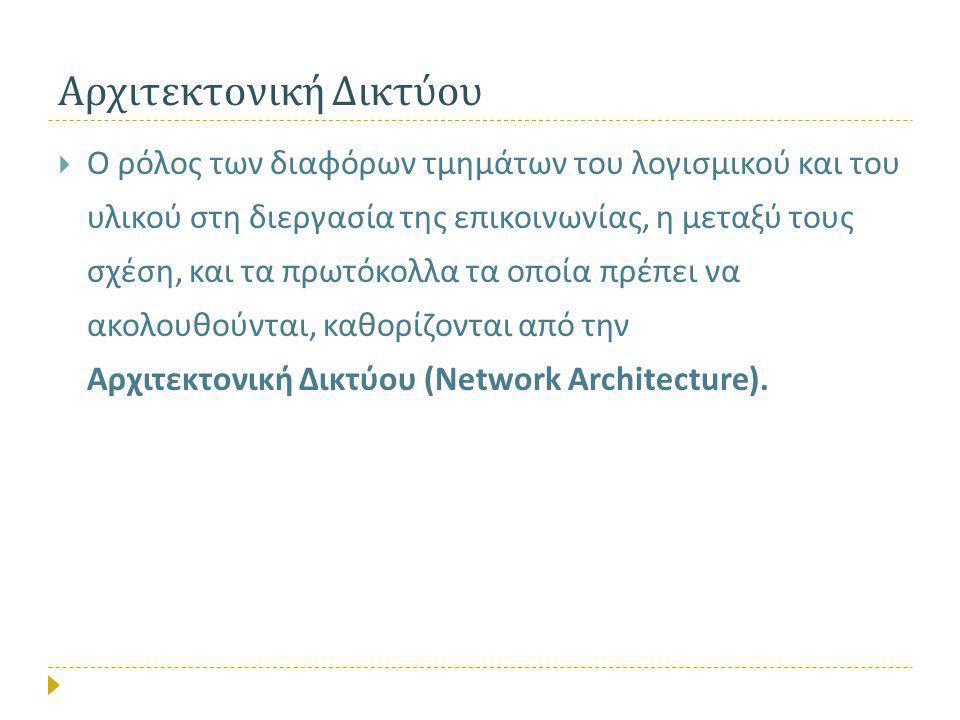 Αρχιτεκτονική Δικτύου  Ο ρόλος των διαφόρων τμημάτων του λογισμικού και του υλικού στη διεργασία της επικοινωνίας, η μεταξύ τους σχέση, και τα πρωτόκολλα τα οποία πρέπει να ακολουθούνται, καθορίζονται από την Αρχιτεκτονική Δικτύου (Network Architecture).