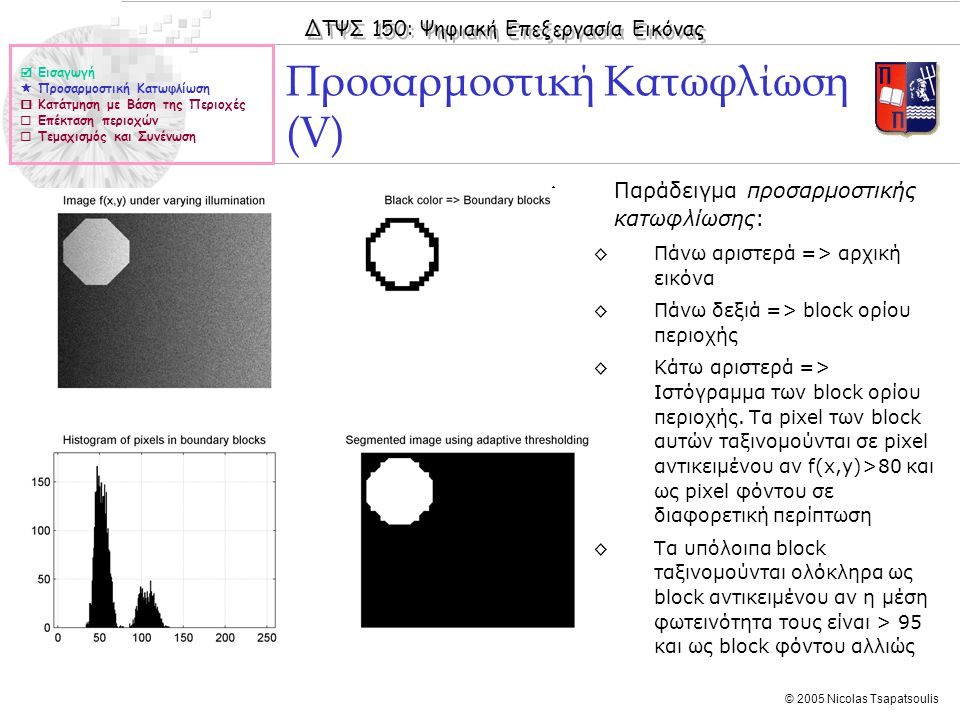 ΔΤΨΣ 150: Ψηφιακή Επεξεργασία Εικόνας © 2005 Nicolas Tsapatsoulis ◊Παράδειγμα προσαρμοστικής κατωφλίωσης: ◊Πάνω αριστερά => αρχική εικόνα ◊Πάνω δεξιά => block ορίου περιοχής ◊Κάτω αριστερά => Ιστόγραμμα των block ορίου περιοχής.