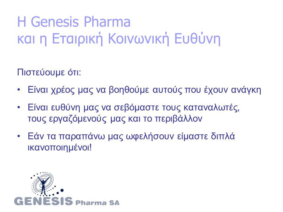 Η Genesis Pharma και η Εταιρική Κοινωνική Ευθύνη Πιστεύουμε ότι: Είναι χρέος μας να βοηθούμε αυτούς που έχουν ανάγκη Είναι ευθύνη μας να σεβόμαστε τους καταναλωτές, τους εργαζόμενούς μας και το περιβάλλον Εάν τα παραπάνω μας ωφελήσουν είμαστε διπλά ικανοποιημένοι!