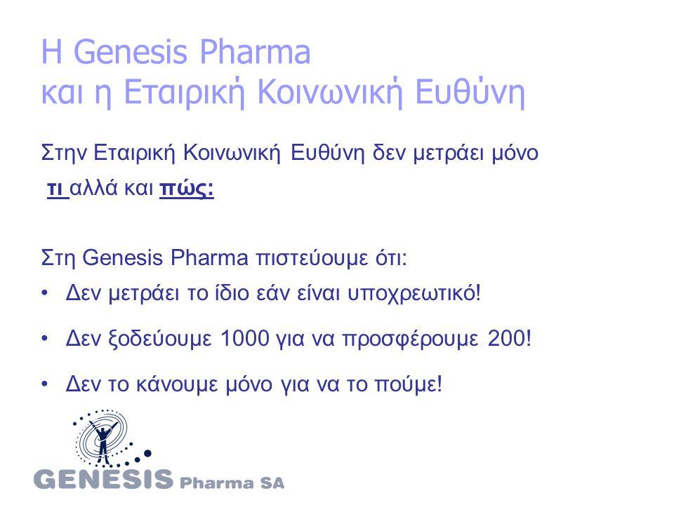 Η Genesis Pharma και η Εταιρική Κοινωνική Ευθύνη Στην Εταιρική Κοινωνική Ευθύνη δεν μετράει μόνο τι αλλά και πώς: Στη Genesis Pharma πιστεύουμε ότι: Δεν μετράει το ίδιο εάν είναι υποχρεωτικό.