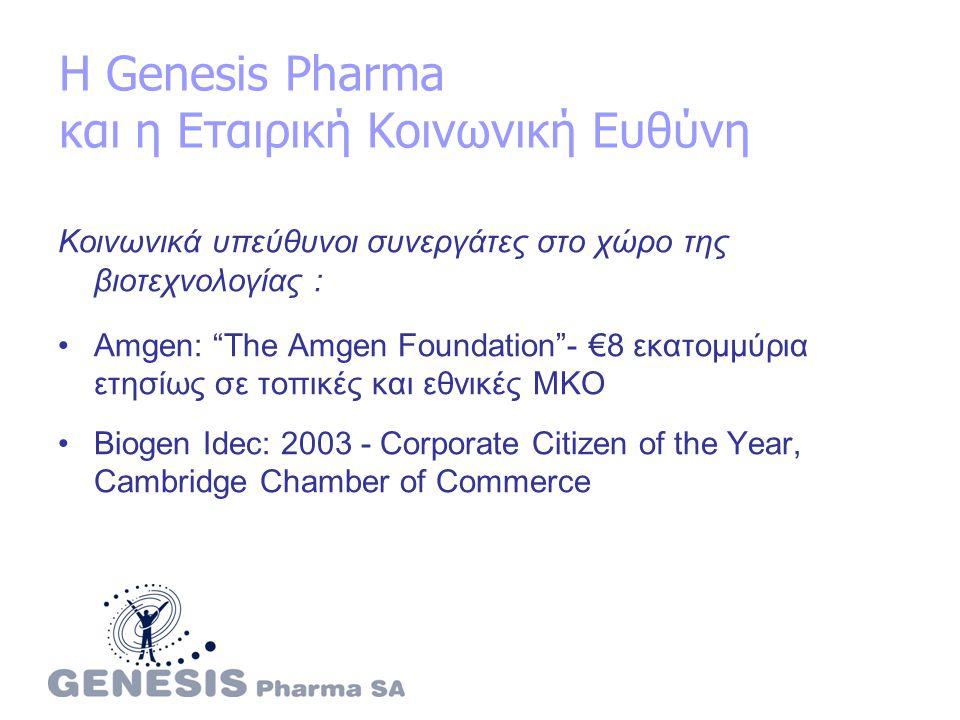 Η Genesis Pharma και η Εταιρική Κοινωνική Ευθύνη Κοινωνικά υπεύθυνοι συνεργάτες στο χώρο της βιοτεχνολογίας : Amgen: The Amgen Foundation - €8 εκατομμύρια ετησίως σε τοπικές και εθνικές ΜΚΟ Biogen Idec: 2003 - Corporate Citizen of the Υear, Cambridge Chamber of Commerce