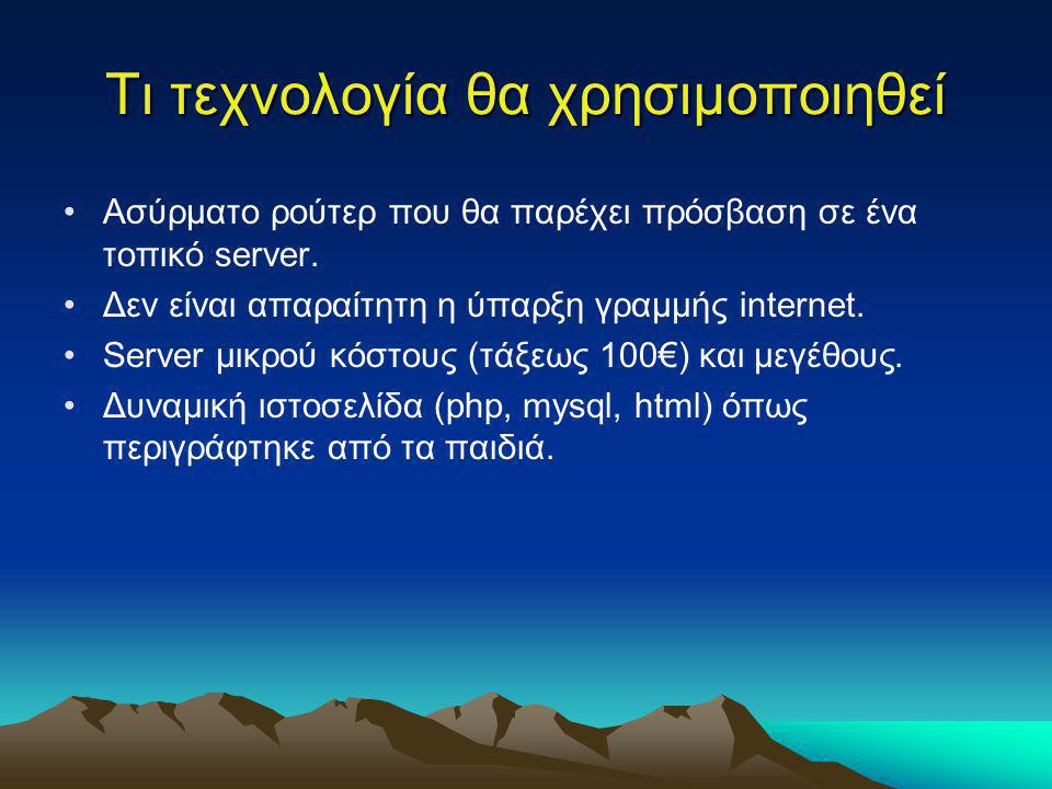 Τι τεχνολογία θα χρησιμοποιηθεί Ασύρματο ρούτερ που θα παρέχει πρόσβαση σε ένα τοπικό server. Δεν είναι απαραίτητη η ύπαρξη γραμμής internet. Server μ
