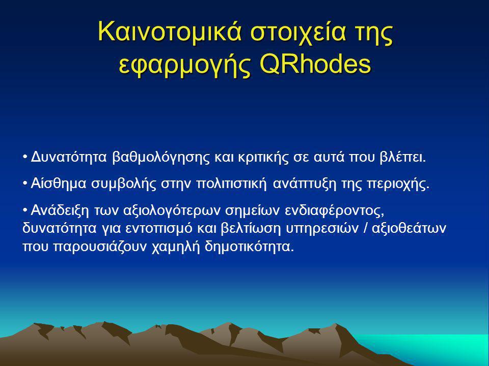Καινοτομικά στοιχεία της εφαρμογής QRhodes Δυνατότητα βαθμολόγησης και κριτικής σε αυτά που βλέπει. Αίσθημα συμβολής στην πολιτιστική ανάπτυξη της περ