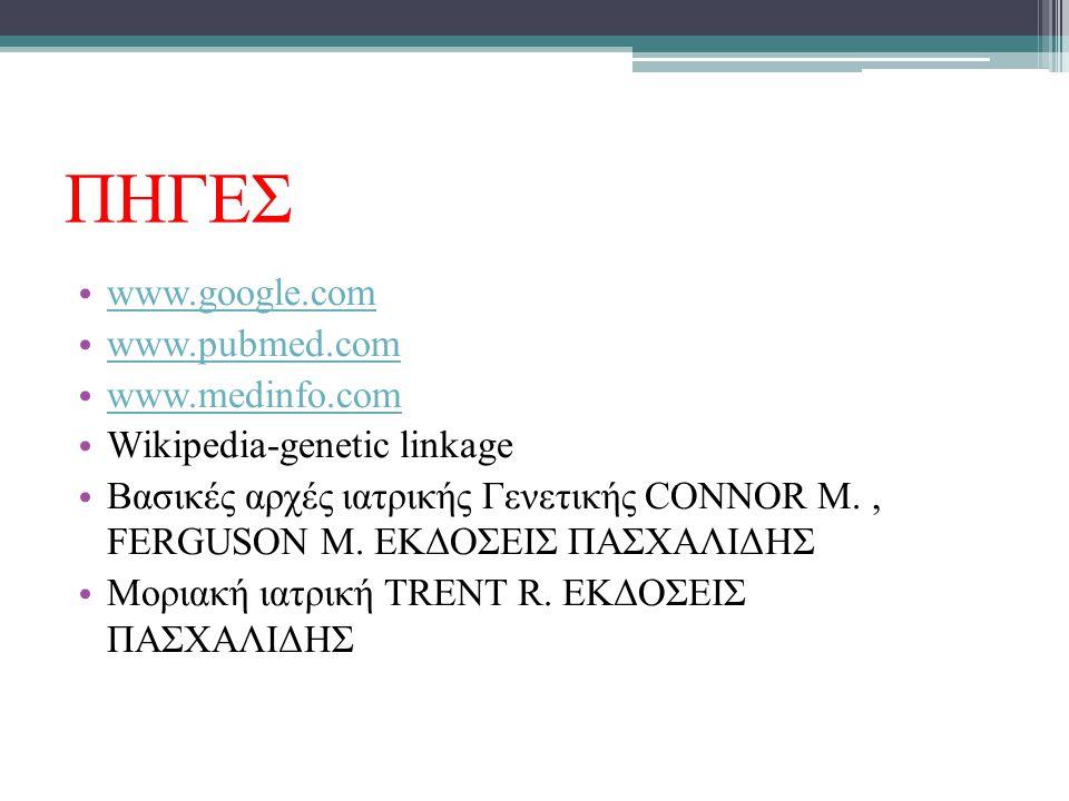 ΠΗΓΕΣ www.google.com www.pubmed.com www.medinfo.com Wikipedia-genetic linkage Βασικές αρχές ιατρικής Γενετικής CONNOR M., FERGUSON M. ΕΚΔΟΣΕΙΣ ΠΑΣΧΑΛΙ