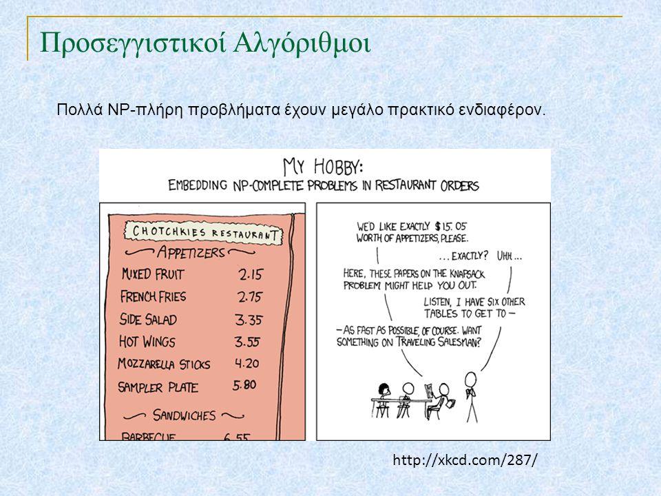 Προσεγγιστικοί Αλγόριθμοι Πολλά NP-πλήρη προβλήματα έχουν μεγάλο πρακτικό ενδιαφέρον.