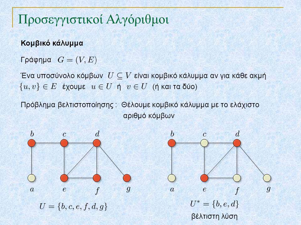 Προσεγγιστικοί Αλγόριθμοι Κομβικό κάλυμμα Γράφημα Πρόβλημα βελτιστοποίησης : Θέλουμε κομβικό κάλυμμα με το ελάχιστο αριθμό κόμβων βέλτιστη λύση Ένα υπ