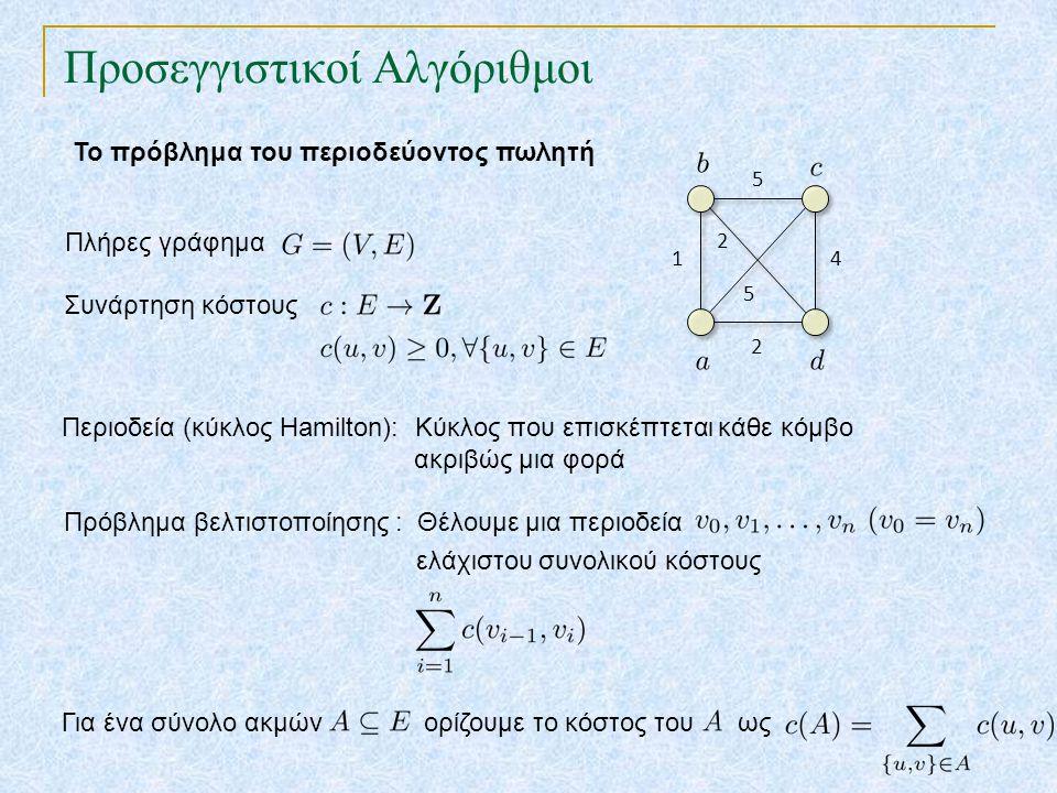 Προσεγγιστικοί Αλγόριθμοι Το πρόβλημα του περιοδεύοντος πωλητή Συνάρτηση κόστους Πλήρες γράφημα 14 2 5 2 5 Περιοδεία (κύκλος Hamilton): Κύκλος που επι