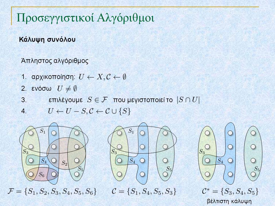 Προσεγγιστικοί Αλγόριθμοι Κάλυψη συνόλου Άπληστος αλγόριθμος 1.αρχικοποίηση: 2.ενόσω 3. επιλέγουμε που μεγιστοποιεί το 4. βέλτιστη κάλυψη