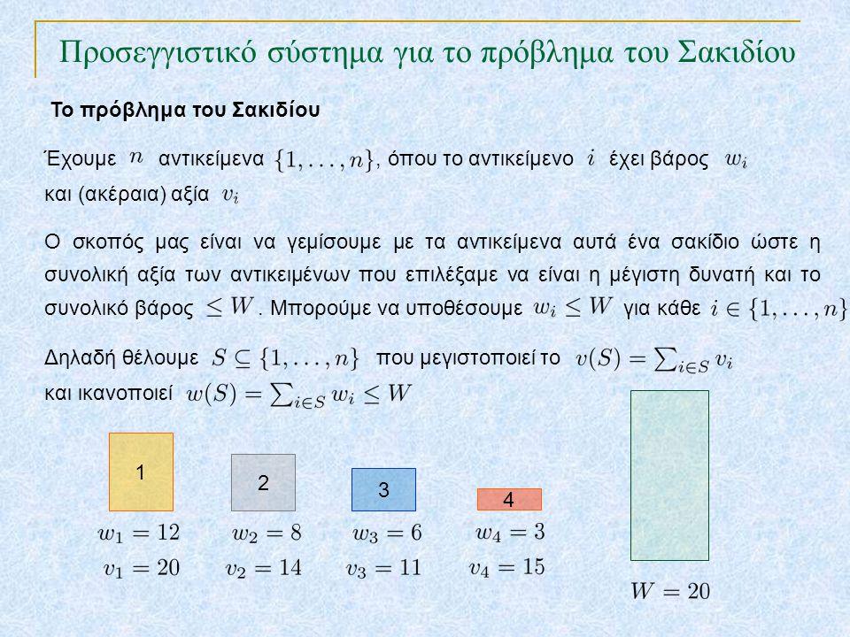 Προσεγγιστικό σύστημα για το πρόβλημα του Σακιδίου TexPoint fonts used in EMF. Read the TexPoint manual before you delete this box.: AA A AA A A Έχουμ