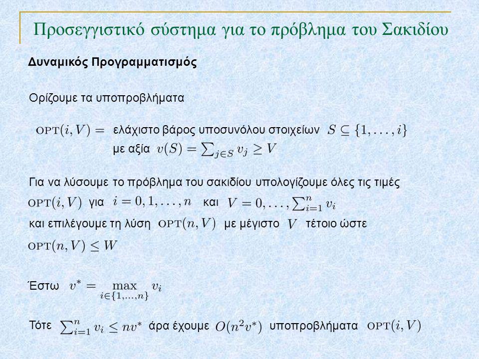 Προσεγγιστικό σύστημα για το πρόβλημα του Σακιδίου TexPoint fonts used in EMF. Read the TexPoint manual before you delete this box.: AA A AA A A Δυναμ