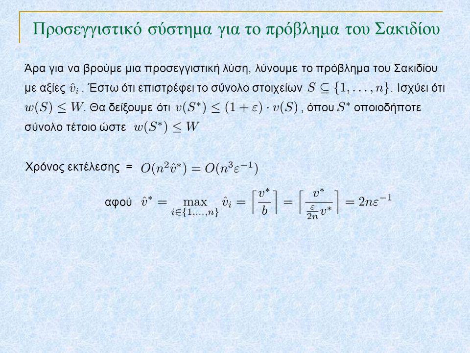 Προσεγγιστικό σύστημα για το πρόβλημα του Σακιδίου TexPoint fonts used in EMF. Read the TexPoint manual before you delete this box.: AA A AA A A Άρα γ