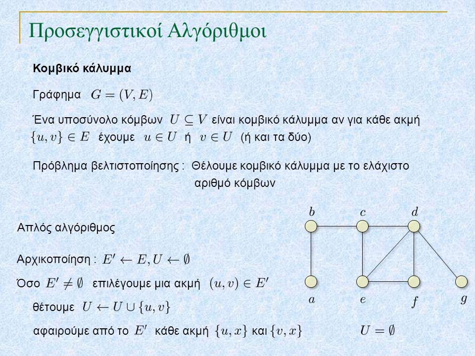 Προσεγγιστικοί Αλγόριθμοι Το πρόβλημα του περιοδεύοντος πωλητή Συνάρτηση κόστους Πλήρες γράφημα 14 2 5 2 5 Μπορούμε να βρούμε μια σχεδόν βέλτιστη περιοδεία αν η συνάρτηση κόστους ικανοποιεί την τριγωνική ανισότητα: Τριγωνική ανισότητα: Για κάθε τριάδα κόμβων Η τριγωνική ανισότητα ισχύει σε πολλές πρακτικές εφαρμογές, π.χ.