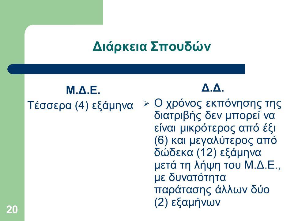 20 Διάρκεια Σπουδών Μ.Δ.Ε.Τέσσερα (4) εξάμηνα Δ.Δ.