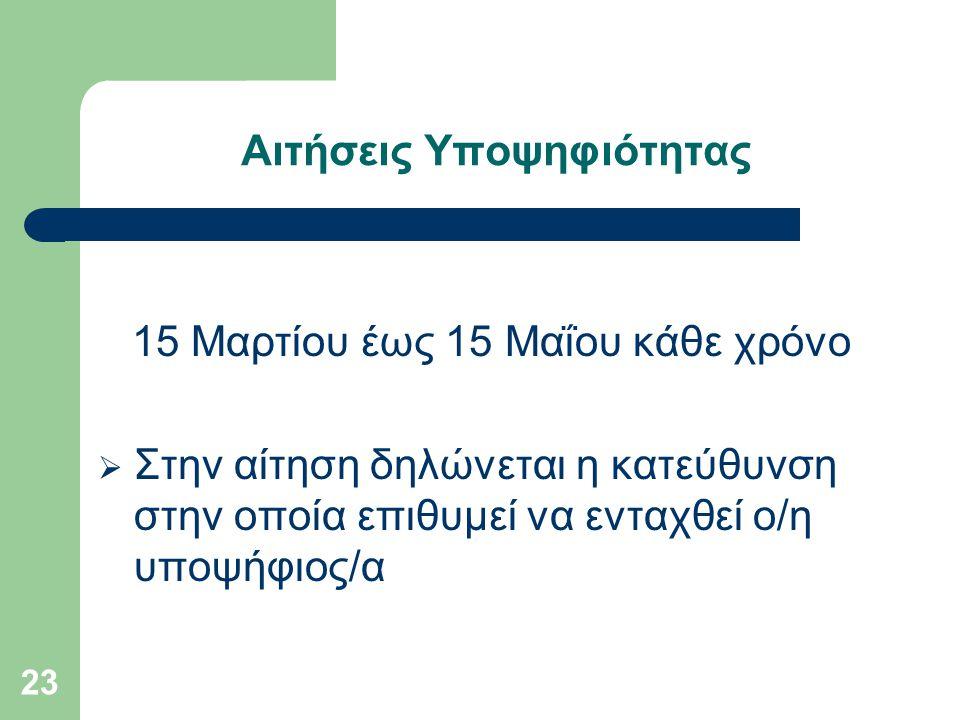 23 Αιτήσεις Υποψηφιότητας 15 Μαρτίου έως 15 Μαΐου κάθε χρόνο  Στην αίτηση δηλώνεται η κατεύθυνση στην οποία επιθυμεί να ενταχθεί ο/η υποψήφιος/α