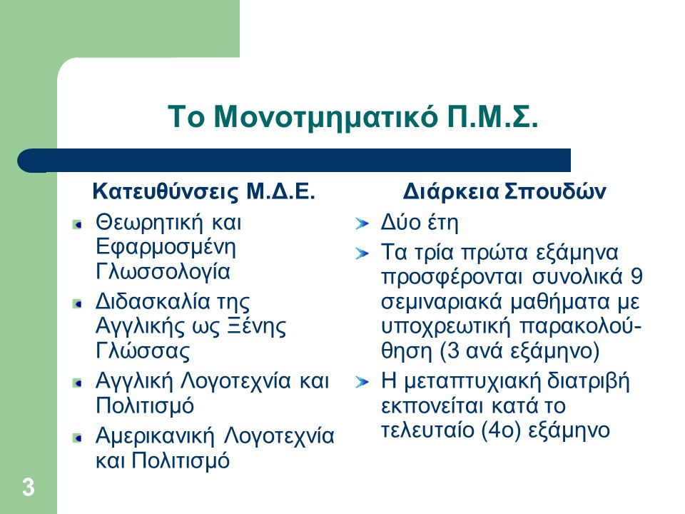 14 Το Πρόγραμμα απονέμει Μ.Δ.Ε.