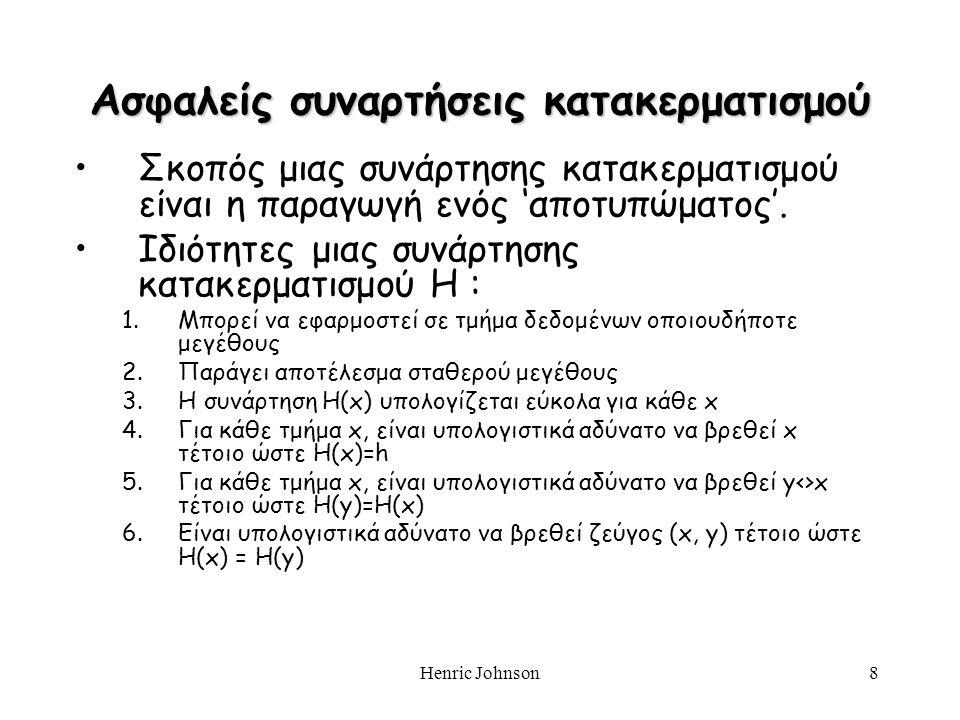 Henric Johnson8 Σκοπός μιας συνάρτησης κατακερματισμού είναι η παραγωγή ενός 'αποτυπώματος'. Ιδιότητες μιας συνάρτησης κατακερματισμού H : 1.Μπορεί να