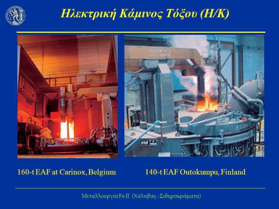 Μεταλλουργία Fe IΙ (Χάλυβας - Σιδηροκράματα) Ηλεκτρική Κάμινος Τόξου (Η/Κ) 160-t EAF at Carinox, Belgium140-t EAF Outokumpu, Finland