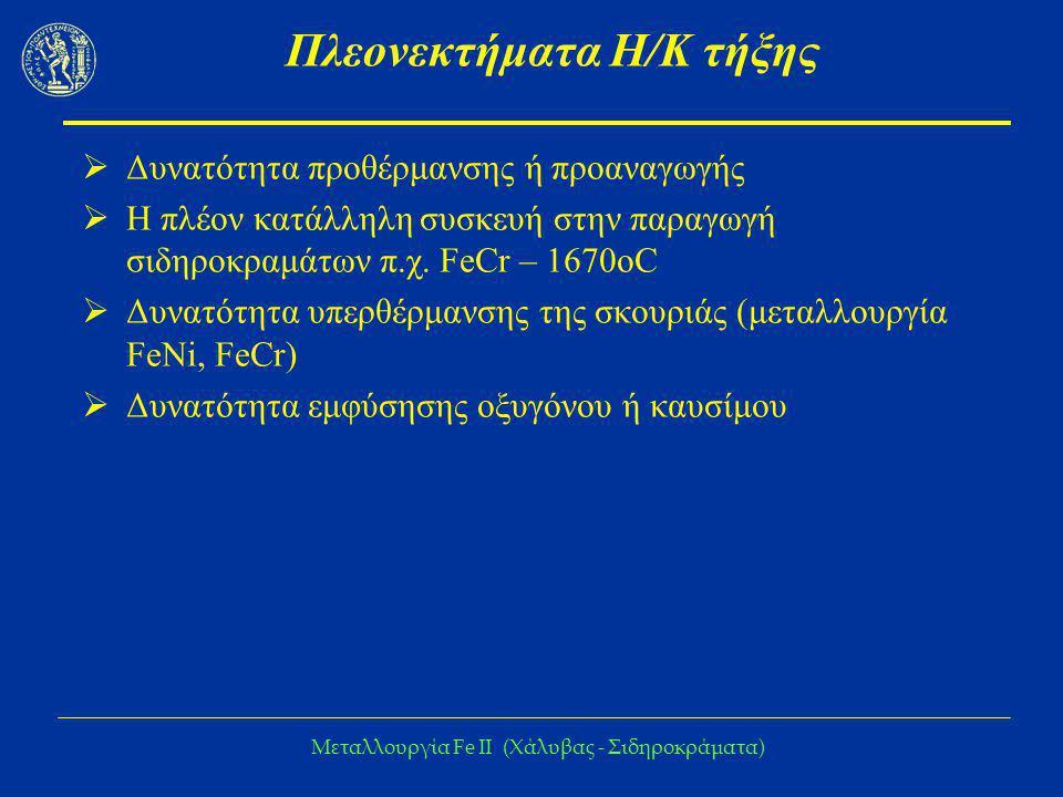 Μεταλλουργία Fe IΙ (Χάλυβας - Σιδηροκράματα) Πλεονεκτήματα Η/Κ τήξης  Δυνατότητα προθέρμανσης ή προαναγωγής  Η πλέον κατάλληλη συσκευή στην παραγωγή