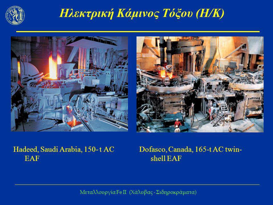 Μεταλλουργία Fe IΙ (Χάλυβας - Σιδηροκράματα) Ηλεκτρική Κάμινος Τόξου (Η/Κ) Hadeed, Saudi Arabia, 150- t AC EAF Dofasco, Canada, 165-t AC twin- shell E