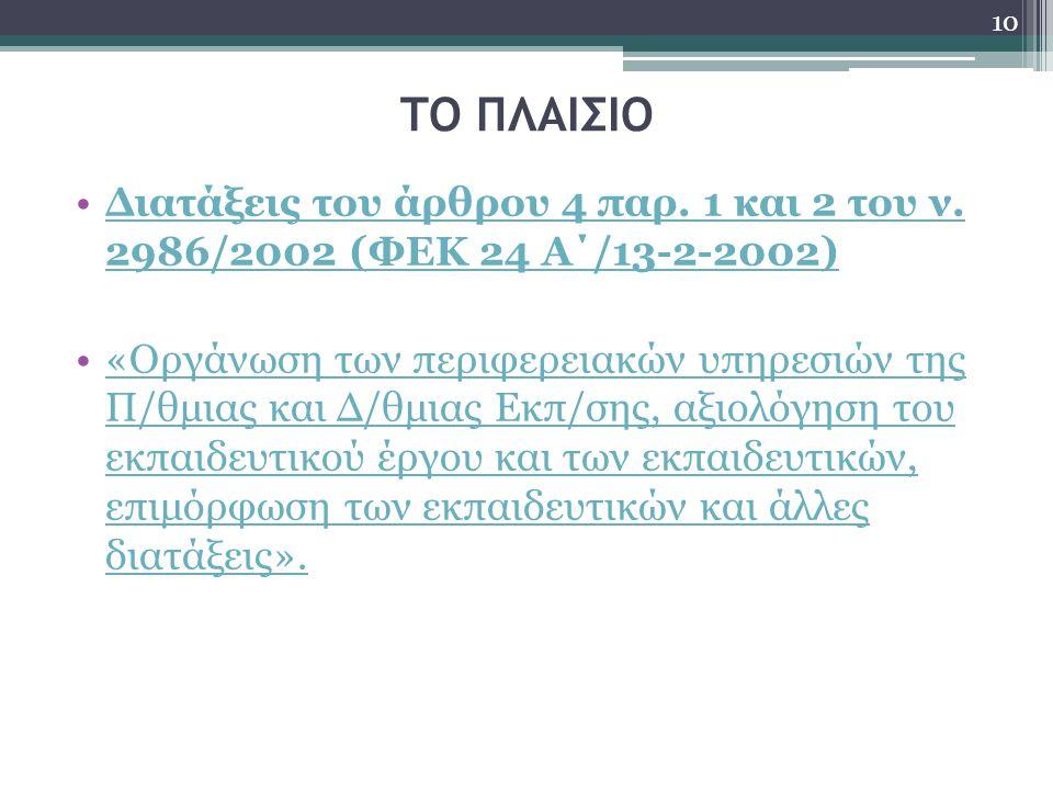ΤΟ ΠΛΑΙΣΙΟ Διατάξεις του άρθρου 4 παρ. 1 και 2 του ν. 2986/2002 (ΦΕΚ 24 Α΄/13-2-2002)Διατάξεις του άρθρου 4 παρ. 1 και 2 του ν. 2986/2002 (ΦΕΚ 24 Α΄/1
