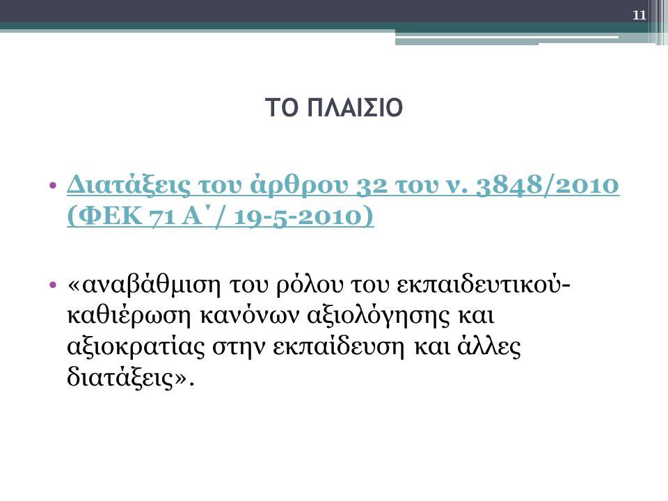 ΤΟ ΠΛΑΙΣΙΟ Διατάξεις του άρθρου 32 του ν. 3848/2010 (ΦΕΚ 71 Α΄/ 19-5-2010)Διατάξεις του άρθρου 32 του ν. 3848/2010 (ΦΕΚ 71 Α΄/ 19-5-2010) «αναβάθμιση