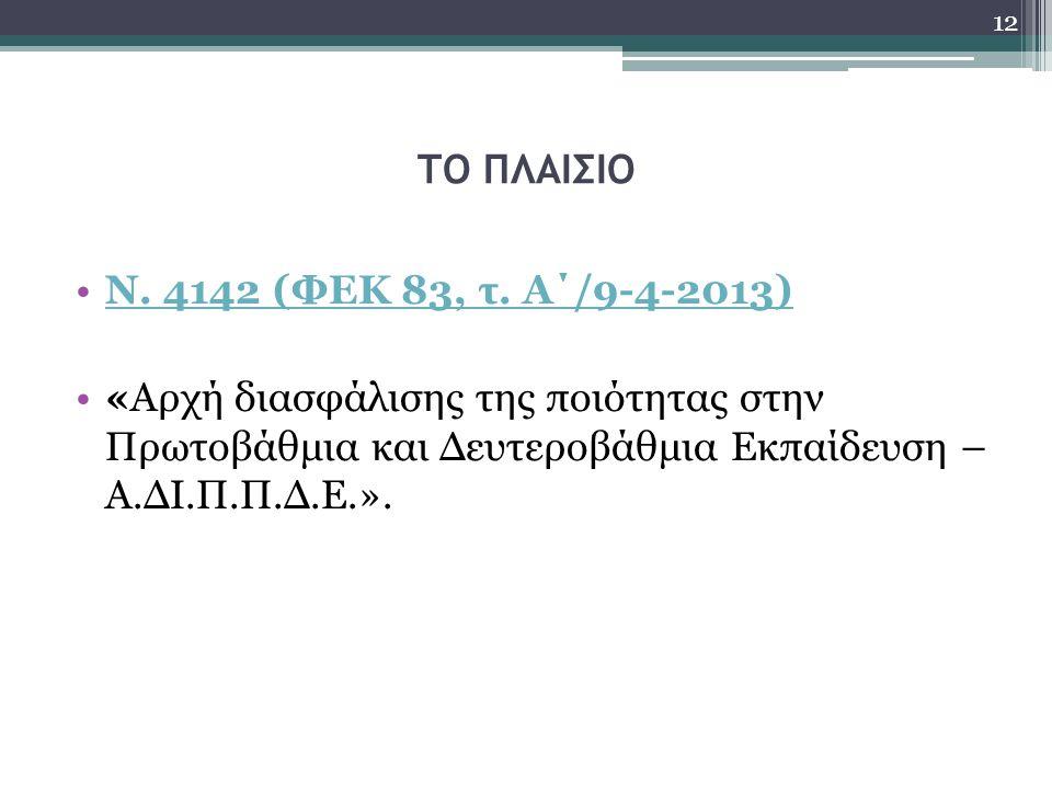 ΤΟ ΠΛΑΙΣΙΟ Ν. 4142 (ΦΕΚ 83, τ. Α΄/9-4-2013) «Αρχή διασφάλισης της ποιότητας στην Πρωτοβάθμια και Δευτεροβάθμια Εκπαίδευση – Α.ΔΙ.Π.Π.Δ.Ε.». 12