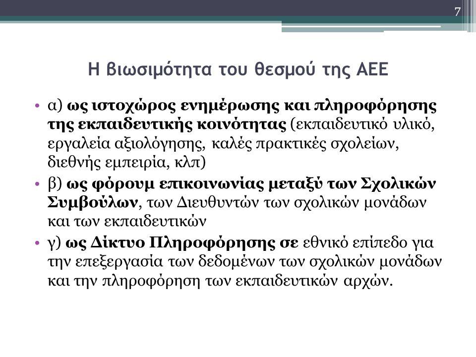 Η βιωσιμότητα του θεσμού της ΑΕΕ α) ως ιστοχώρος ενημέρωσης και πληροφόρησης της εκπαιδευτικής κοινότητας (εκπαιδευτικό υλικό, εργαλεία αξιολόγησης, κ