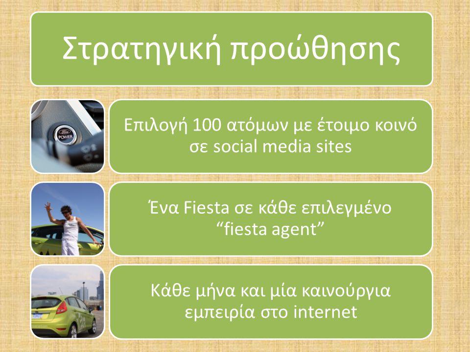 Στρατηγική προώθησης Επιλογή 100 ατόμων με έτοιμο κοινό σε social media sites Ένα Fiesta σε κάθε επιλεγμένο fiesta agent Κάθε μήνα και μία καινούργια εμπειρία στο internet