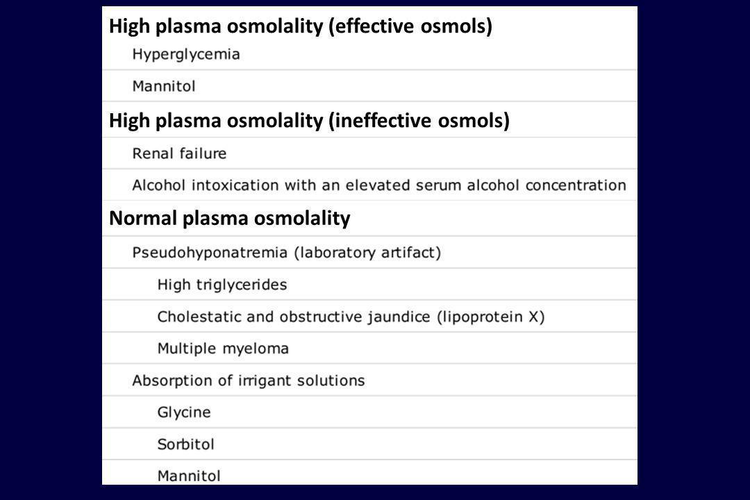 High plasma osmolality (effective osmols) High plasma osmolality (ineffective osmols) Normal plasma osmolality