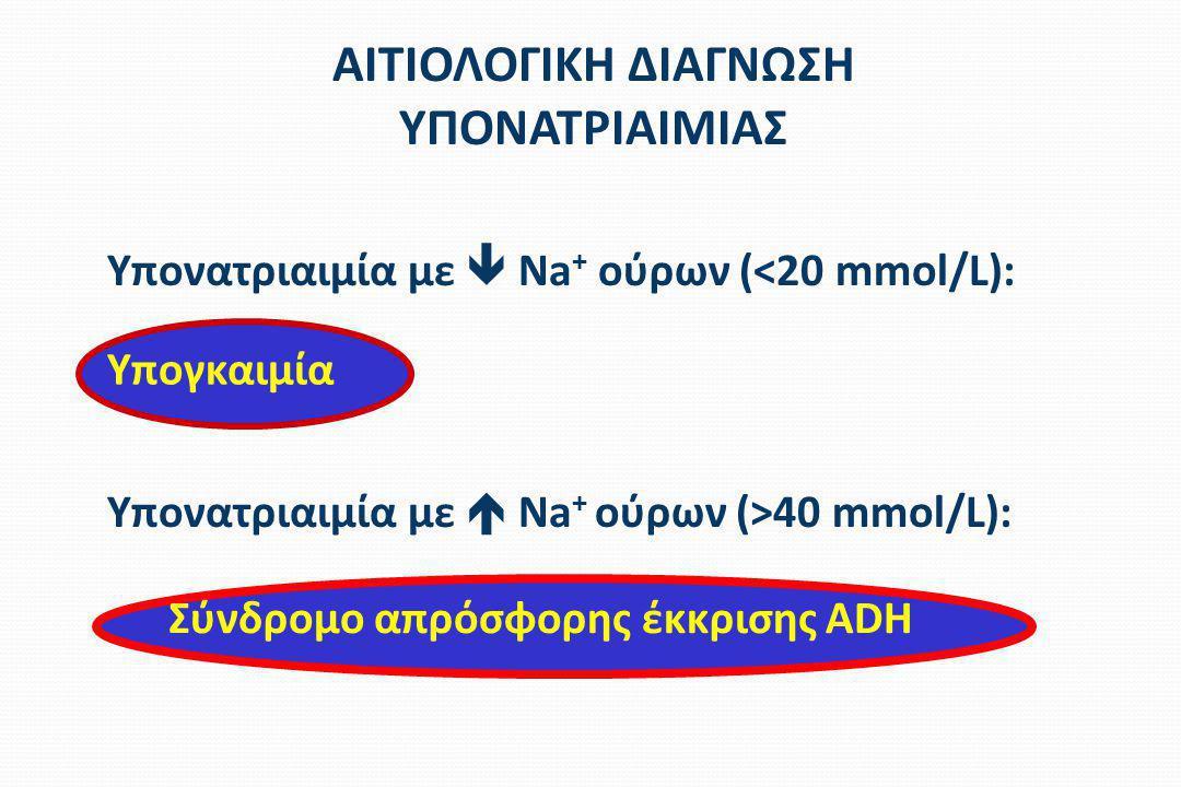 ΑΙΤΙΟΛΟΓΙΚΗ ΔΙΑΓΝΩΣΗ ΥΠΟΝΑΤΡΙΑΙΜΙΑΣ Υπονατριαιμία με  Na + ούρων (<20 mmol/L): Υπονατριαιμία με  Na + ούρων (>40 mmol/L): Υπογκαιμία Σύνδρομο απρόσφ