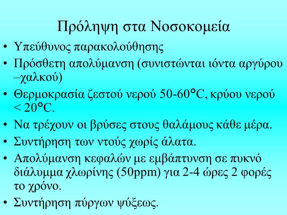 Πρόληψη στα Νοσοκομεία Υπεύθυνος παρακολούθησης Πρόσθετη απολύμανση (συνιστώνται ιόντα αργύρου –χαλκού) Θερμοκρασία ζεστού νερού 50-60°C, κρύου νερού < 20°C.
