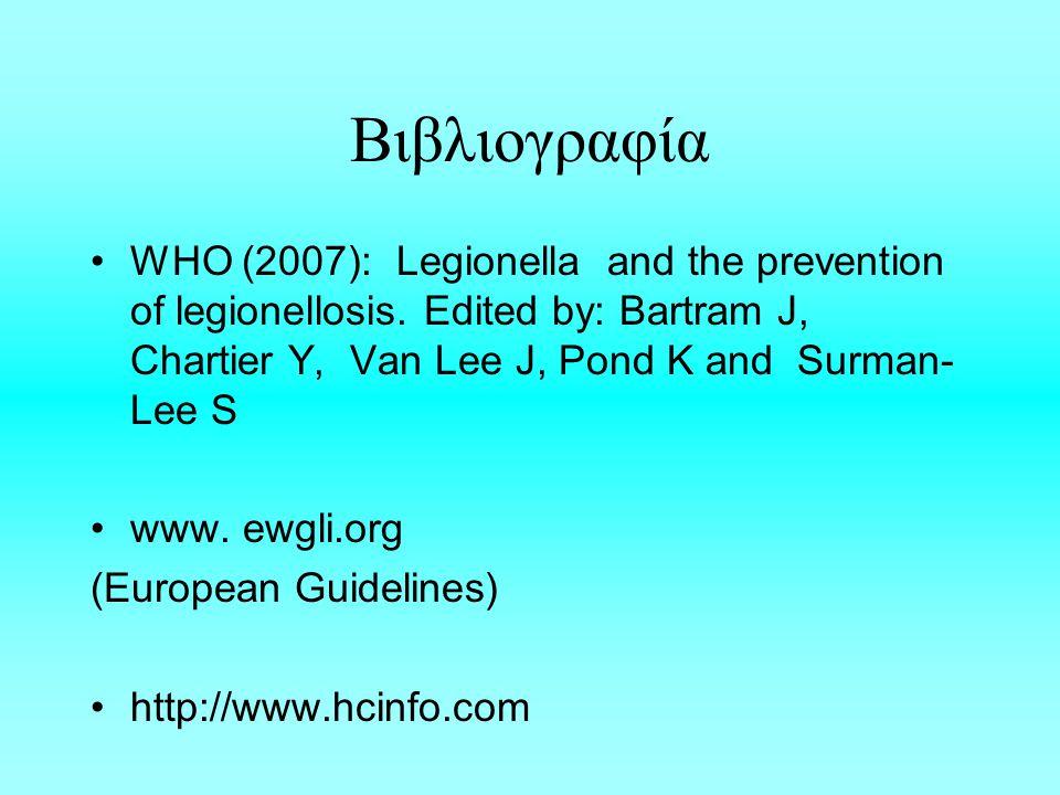 Βιβλιογραφία WHO (2007): Legionella and the prevention of legionellosis.