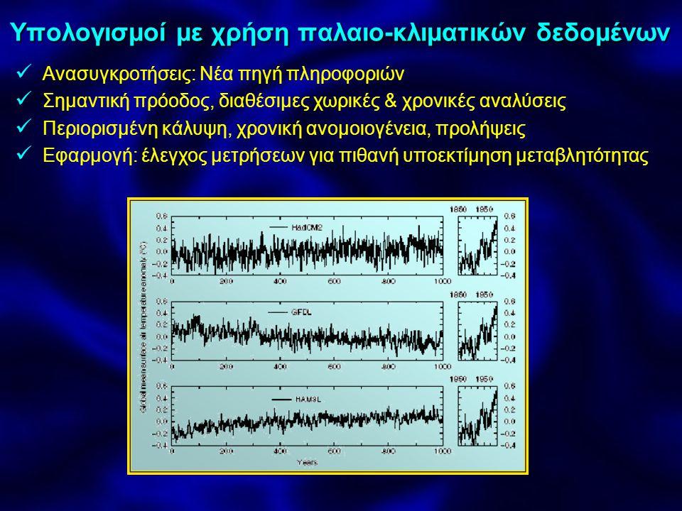 Η κλιματική απόκριση στην ανθρωπογενη επίδραση Μοντέλα με μόνο ↑ G → θέρμανση το τελ μισό 20ου Μοντέλα με μόνο αεροζόλ: μείωση τάξης θέρμανσης Παρόμοια απόκριση με όζον & θειικά άλατα Απόκριση Τεπιφ στην ανθρωπογενη επίδραση Μεγαλύτερη θέρμανση σε ξηρά Μικρή σε Νοτ& Βόρειο Ατλαντικό (αναμείξεις μεγάλου βάθους) ↑θέρμανση σε μεγάλα γ.