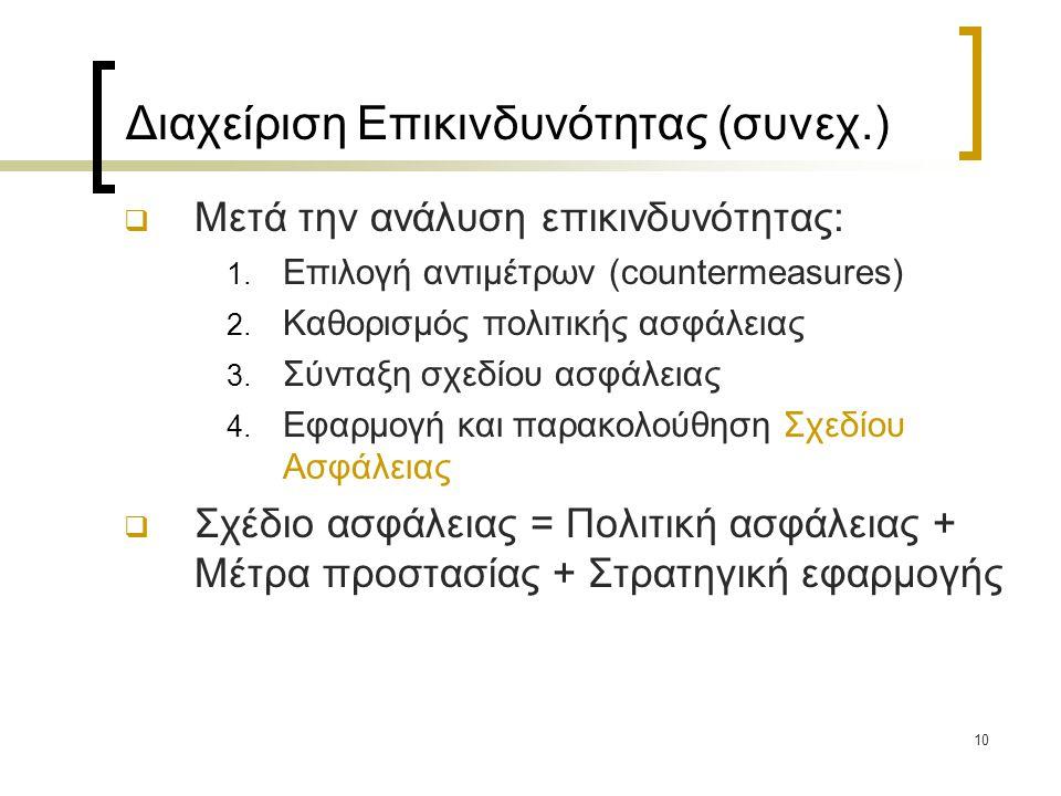10 Διαχείριση Επικινδυνότητας (συνεχ.)  Μετά την ανάλυση επικινδυνότητας: 1. Επιλογή αντιμέτρων (countermeasures) 2. Καθορισμός πολιτικής ασφάλειας 3