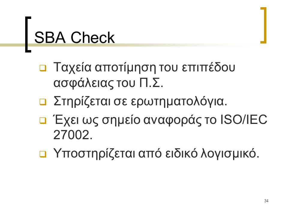 34 SBA Check  Ταχεία αποτίμηση του επιπέδου ασφάλειας του Π.Σ.  Στηρίζεται σε ερωτηματολόγια.  Έχει ως σημείο αναφοράς το ISO/IEC 27002.  Υποστηρί