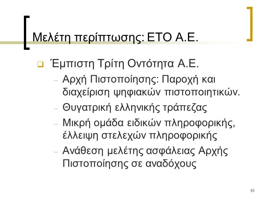 65 Μελέτη περίπτωσης: ΕΤΟ Α.Ε.  Έμπιστη Τρίτη Οντότητα Α.Ε.  Αρχή Πιστοποίησης: Παροχή και διαχείριση ψηφιακών πιστοποιητικών.  Θυγατρική ελληνικής