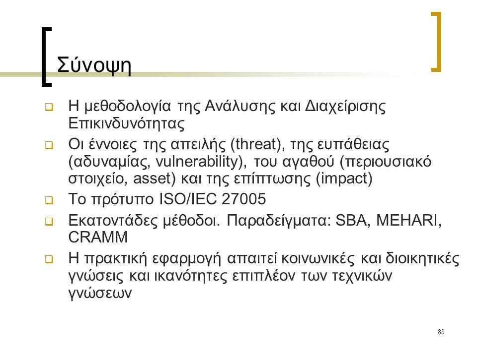 89 Σύνοψη  Η μεθοδολογία της Ανάλυσης και Διαχείρισης Επικινδυνότητας  Οι έννοιες της απειλής (threat), της ευπάθειας (αδυναμίας, vulnerability), το