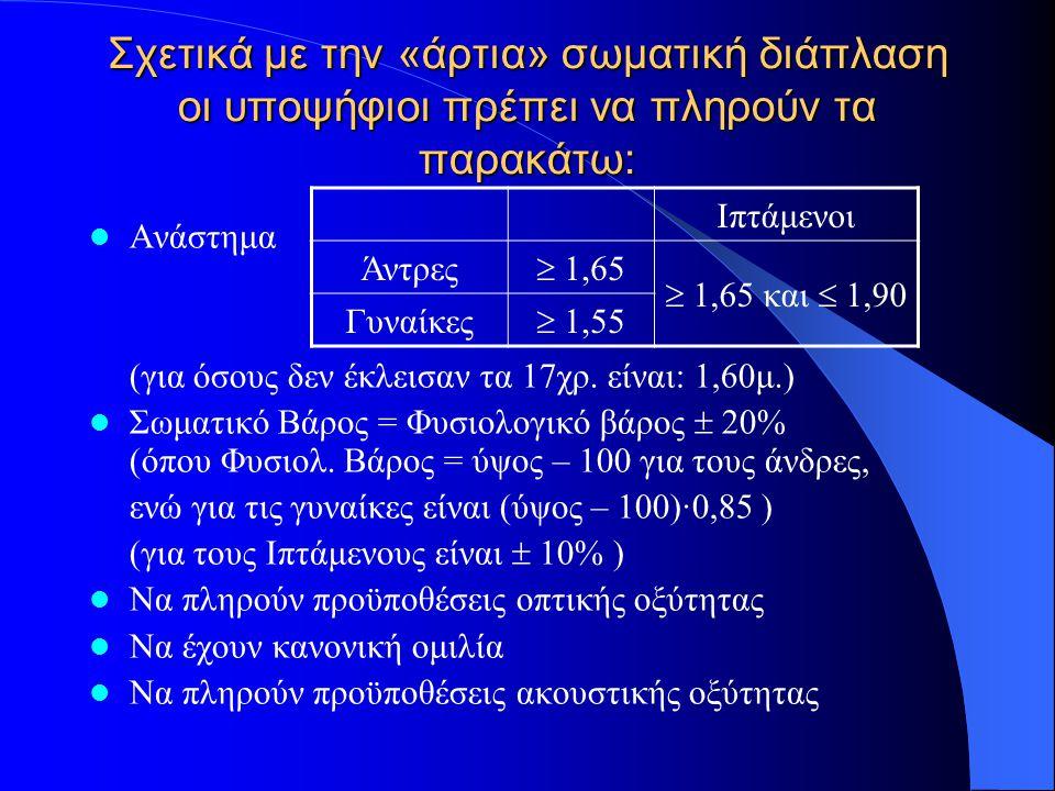 Σχετικά με την «άρτια» σωματική διάπλαση οι υποψήφιοι πρέπει να πληρούν τα παρακάτω: Ανάστημα (για όσους δεν έκλεισαν τα 17χρ.