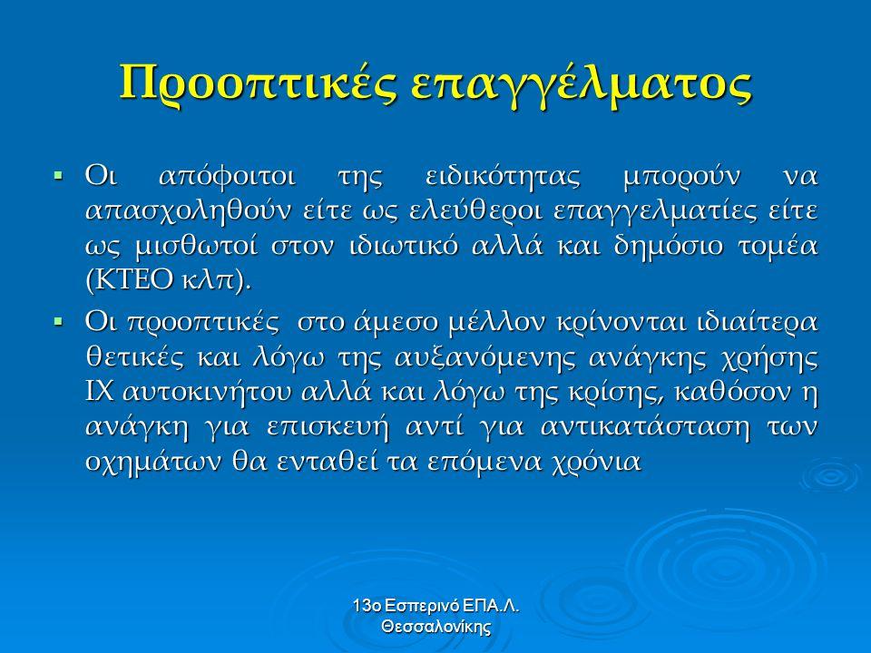 13ο Εσπερινό ΕΠΑ.Λ. Θεσσαλονίκης Προοπτικές επαγγέλματος  Οι απόφοιτοι της ειδικότητας μπορούν να απασχοληθούν είτε ως ελεύθεροι επαγγελματίες είτε ω