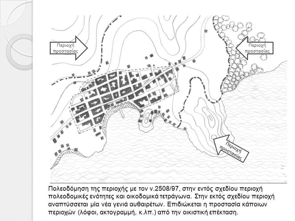 Πολεοδόμηση της περιοχής με τον ν.2508/97, στην εντός σχεδίου περιοχή πολεοδομικές ενότητες και οικοδομικά τετράγωνα. Στην εκτός σχεδίου περιοχή αναπτ