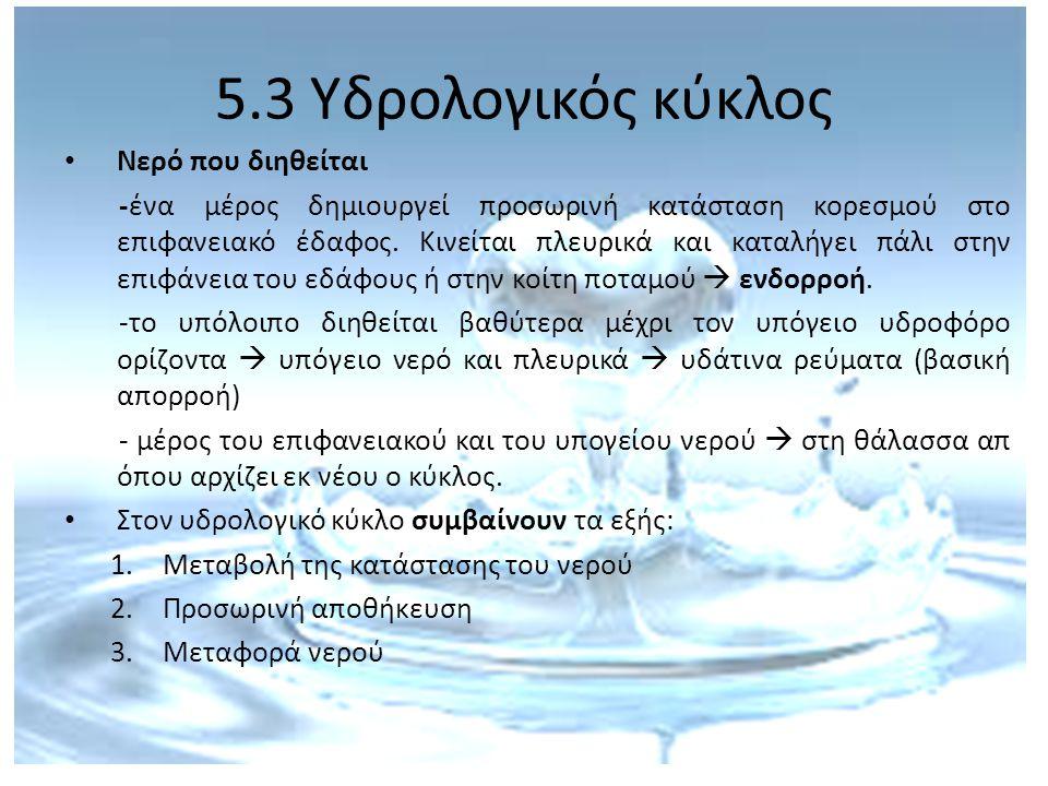5.3 Υδρολογικός κύκλος Νερό που διηθείται -ένα μέρος δημιουργεί προσωρινή κατάσταση κορεσμού στο επιφανειακό έδαφος. Κινείται πλευρικά και καταλήγει π