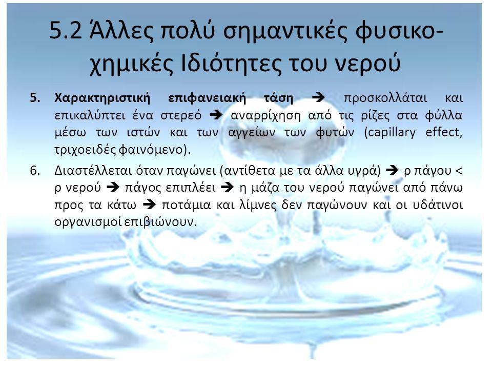 5.3 Υδρολογικός κύκλος Η παγκόσμια ποσότητα νερού = σταθερή Η διαθεσιμότητα νερού = μη σταθερή Το νερό κινείται συνέχεια σαν σε ένα κλειστό κύκλωμα = υδρολογικός κύκλος η αλλιώς κύκλος νερού = μεταφορά της υγρασίας από τη θάλασσα στην ατμόσφαιρα και πίσω στη γη.
