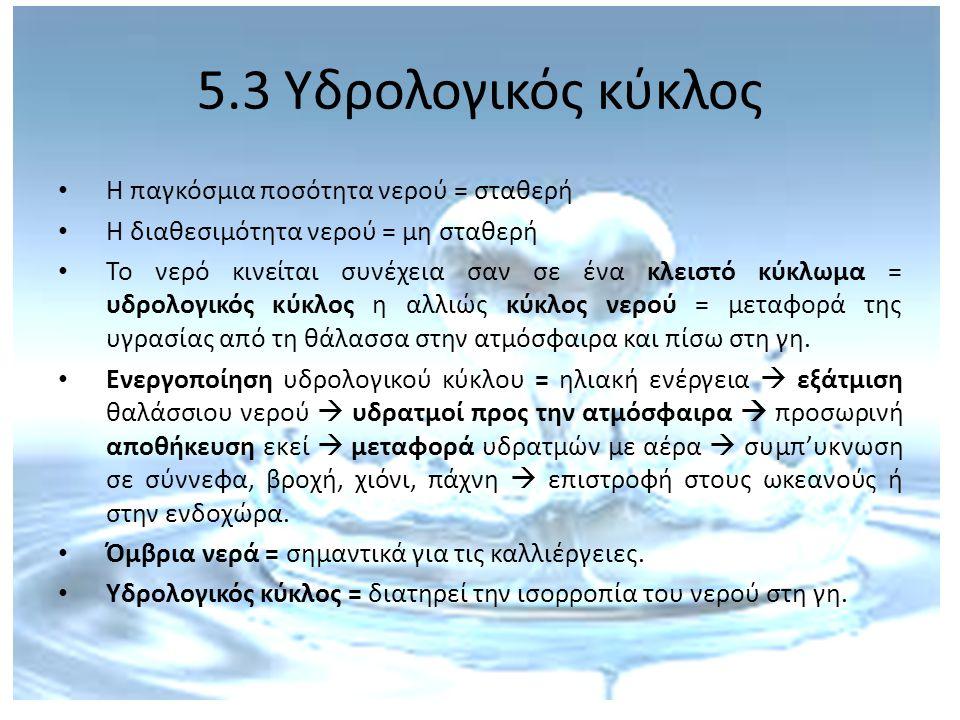 5.3 Υδρολογικός κύκλος Η παγκόσμια ποσότητα νερού = σταθερή Η διαθεσιμότητα νερού = μη σταθερή Το νερό κινείται συνέχεια σαν σε ένα κλειστό κύκλωμα =