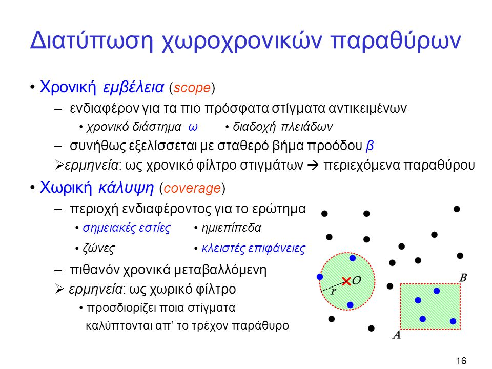 16 Διατύπωση χωροχρονικών παραθύρων Χρονική εμβέλεια (scope) – ενδιαφέρον για τα πιο πρόσφατα στίγματα αντικειμένων χρονικό διάστημα ω διαδοχή πλειάδω
