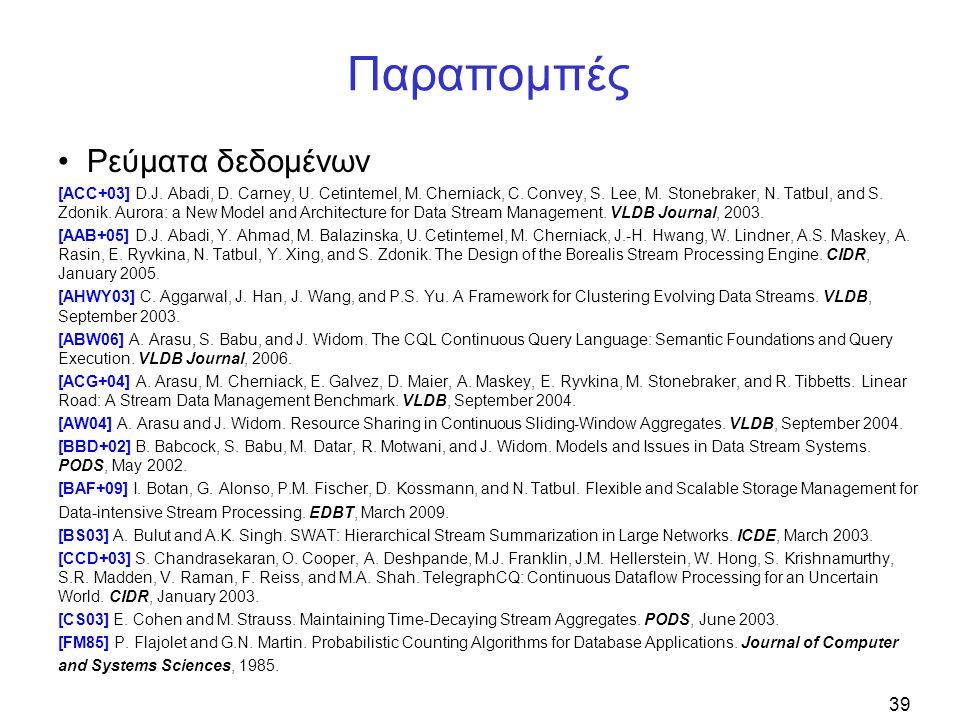 39 Παραπομπές Ρεύματα δεδομένων [ACC+03] D.J. Abadi, D. Carney, U. Cetintemel, M. Cherniack, C. Convey, S. Lee, M. Stonebraker, N. Tatbul, and S. Zdon
