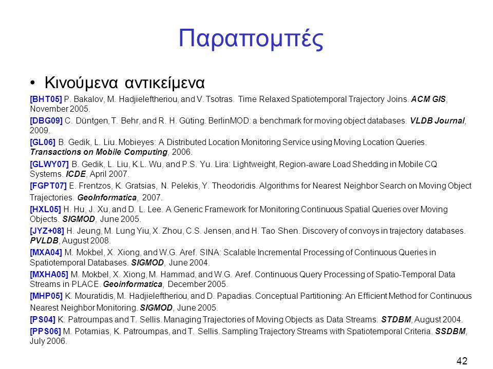 42 Παραπομπές Κινούμενα αντικείμενα [BHT05] P. Bakalov, M. Hadjieleftheriou, and V. Tsotras. Time Relaxed Spatiotemporal Trajectory Joins. ACM GIS, No