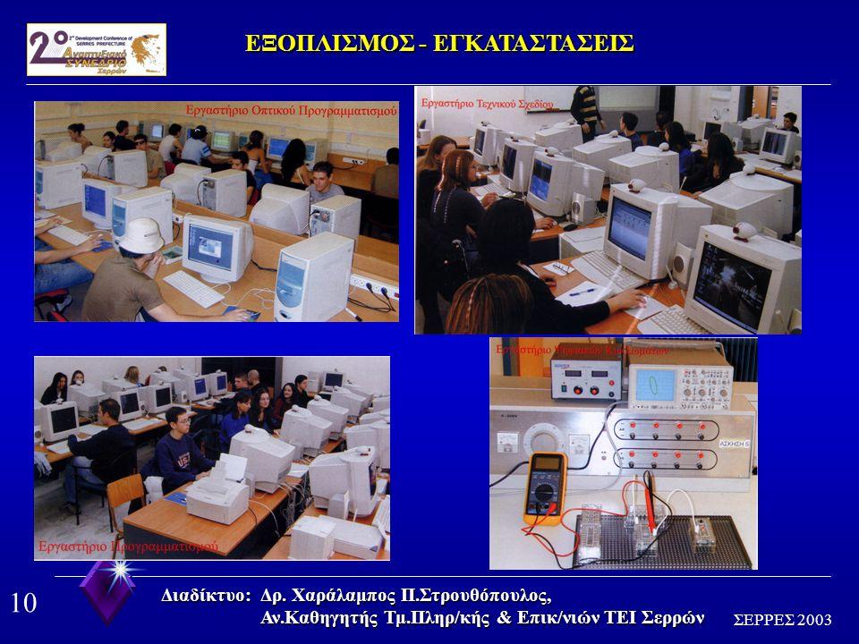 9 ΣΕΡΡΕΣ 2003 Διαδίκτυο: Δρ. Χαράλαμπος Π.Στρουθόπουλος, Αν.Καθηγητής Τμ.Πληρ/κής & Επικ/νιών ΤΕΙ Σερρών ΕΠΙΣΤΗΜΟΝΙΚΟ ΕΚΠΑΙΔΕΥΤΙΚΟ ΠΡΟΣΩΠΙΚΟ ΑΝΑΛΥΣΗ-Π